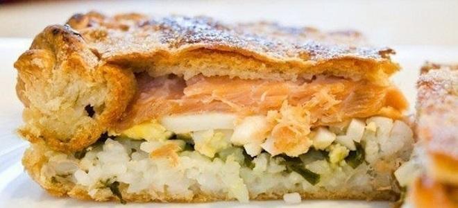 Пирог с рыбой — рецепты с рисом, капустой из дрожжевого или заливного теста