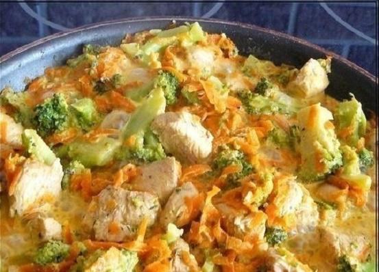 Полезный ужин - Курица с брокколи и морковью, тушеная в сливках